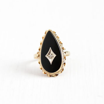 Vintage 14k Rosy Yellow Gold Onyx & Diamond Teardrop Ring - Size 6 Mid Century Retro 1960s Black Gemstone Unique Statement Fine Jewelry