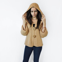 FREE SHIPPING Knit merino cardigan Handmade beige hooded cardigan Big wood button Long sleeve sweater Warm cozy winter wear Extra large