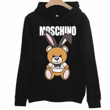 Moschino autumn and winter tide brand classic bear print loose couple models hooded sweater black