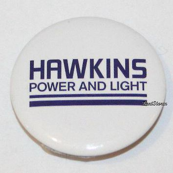 "Licensed cool Stranger Things Hawkins Power and Light 1 1/4"" Button Pin Back Pinback Netflix"