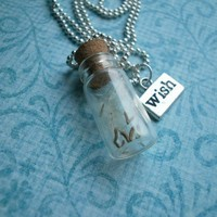 Glass vial bottle Dandelion seed WISH Necklace