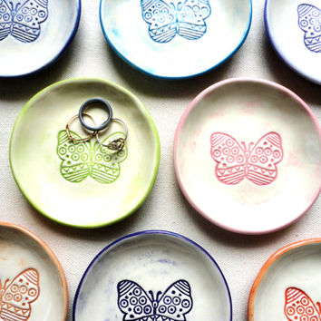 BUTTERFLY Ceramic Dish Set, Candle Plate, Ring bowl, Tea Bag Holder