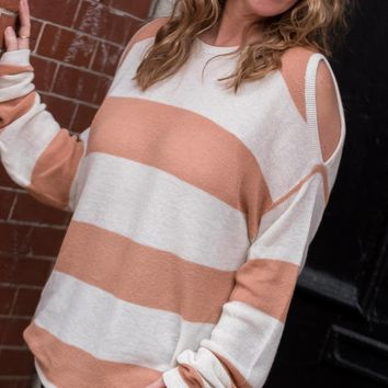 Apricot Striped Cold Shoulder Sweater