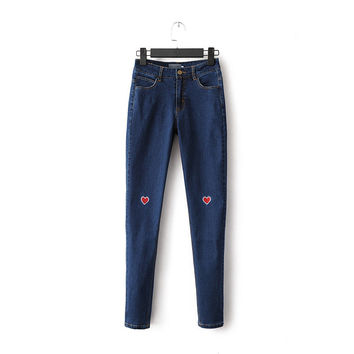 Summer Embroidery Slim Stretch Jeans Skinny Pants [6332307268]