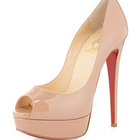 Christian Louboutin Lady Peep Patent Red Sole Pump, Nude