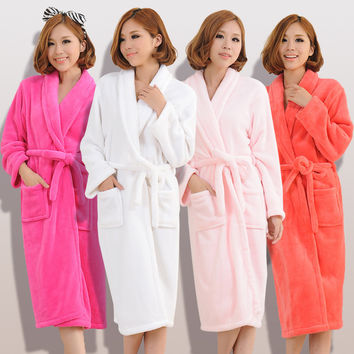 2015 Autumn winter bathrobes for women men  lady's  long sleeve flannel robe  female  male sleepwear  lounges  homewear pyjamas
