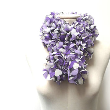 Hand Knitted Fabric Scarf - Ruffled Mutlicolor Polka Dot Scarflette - White Black Purple Lilac - Boho Chic Neckwarmer