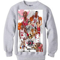 Chicago Bulls Anniversary vintage black spike lee MICHAEL JORDAN mars BLACKMON sweater sweatshirt nba bulls men retro xmas grey
