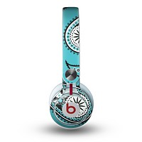 The Vivid Blue & Black Paisley Design Skin for the Beats by Dre Mixr Headphones