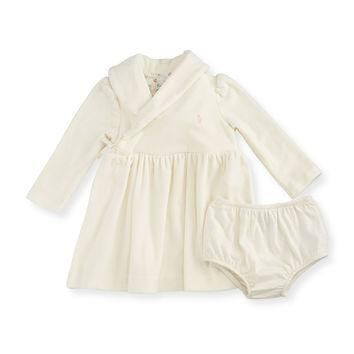 Long-Sleeve Velour Shawl-Collar Dress w/ Bloomers, Cream, Size 9-24 Months,