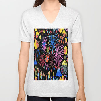 let's go see fireworks Unisex V-Neck by Amy Gale