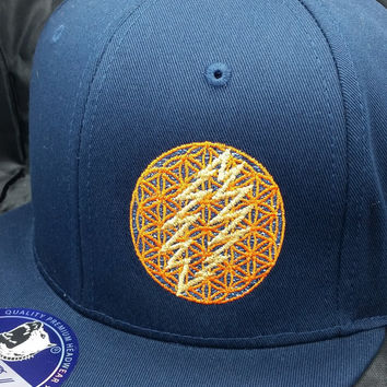 Flower of Life Bolt Snapback Hat (navy blue hat w/ orange holographic under-brim) GSD One-of-a-Kind cap sacred geometry FREE SHIPPING
