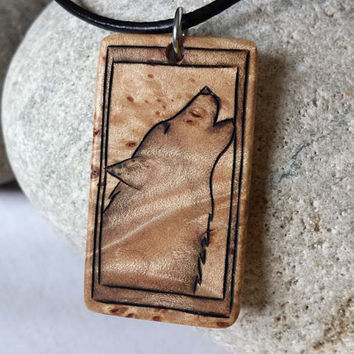 Mens Wolf Necklace, Wood Wolf Pendant, Mens Wolf Jewelry, Handcrafted Necklace