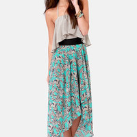 Feather Figure Print Halter Dress