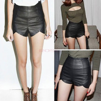 Women's High Waist Rock Punk Faux Leather Slim Fit Asymmetric Shorts Pants 16590 = 5613061441