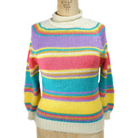 1980s Trousers Up Striped Sweater / Spring Easter Pastel / Mock Turtleneck / Preppy / Womens Vintage Sweater / Size Medium