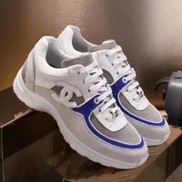 Chanel Trending Women Comfortable Leather Sneakers Running Sport Shoes Blue I