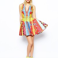 ASOS Indie Summer paced print skater Dress at asos.com