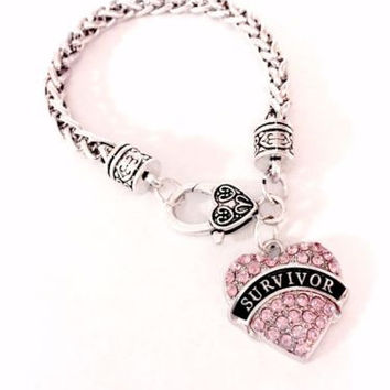 Pink Survivor Breast Cancer Awareness Gift Best Friend Sister Mom Charm Bracelet