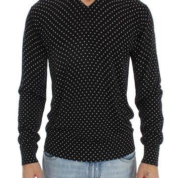 Black Silk Polka Dot Pullover Sweater