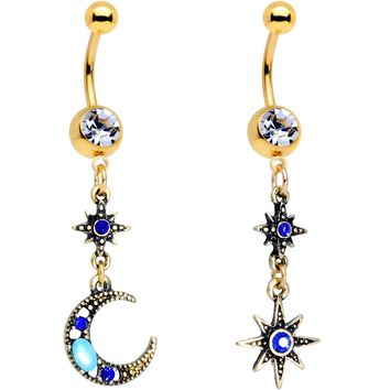 Blue Gem Gold PVD Blue Celestial Moon Star Dangle Belly Ring Set of 2