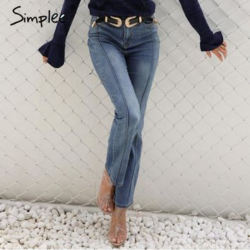 Denim star high waist jeans female Pocket boyfriend jeans women bottoms Blue patchwork pants flare jeans pants Capri