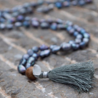 Boho silver grey beaded moonstone necklace Grey pearl hand knotted mala beads Grey tassel Long bohemian beaded Rainbow moonstone meditation