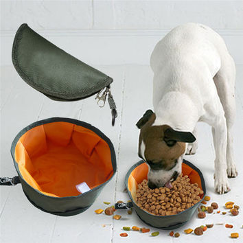 Waterpoof Canvas Folding Pet Cat Food Bowl Dogs Food Water Bowl Outdoor Portable Folding Dog Bowl