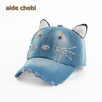 [aide chebi]2017 Fashion Toddler Kids Baby Beret Kitten Visor Baseball Cap Casquette Cotton Peaked Hat casquette dad hat