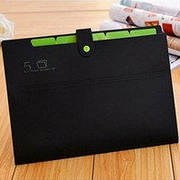 KOBEST Pocket document file Poly Expanding A4 and Letter Size File Organizer, 5 Pockets, stylish colorful and very lightweight(black&green)
