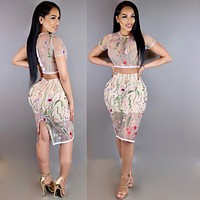 MEGAN'S MESH FLORAL TWO-PIECE SKIRT SET