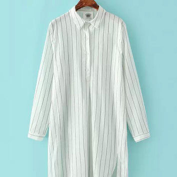 White Striped Long Sleeve Shirt Collar Tunic Blouse
