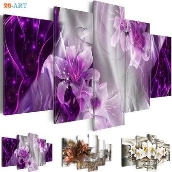 Lilies Flowers Prints Canvas Painting 5 Pieces Purple Orange Blossom Poster Bling Modern Wall Art for Living Room Home Decor