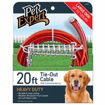 Pet Expert® PE223856 Heavy-Weight Steel Aircraft Dog Tie Out Cable, 15'