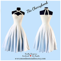 The Cherrybomb WHITE knit Halter Dress, Sexy Cross Front Multi-Way Pin Up Party Dress, Goth Steampunk Rockabilly Wedding, Modern Bridesmaid