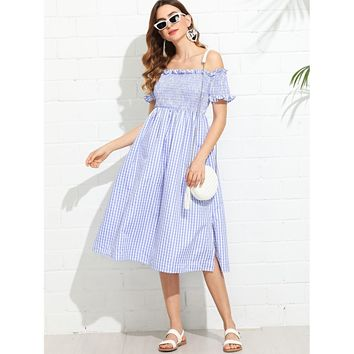 Shirred Bodice Gingham Bardot Dress