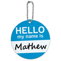 Mathew Hello My Name Is Round ID Card Luggage Tag