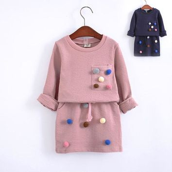 children's set baby girl autumn winter clothes tops cheap pullover pom pom sweater jumper skirt knit suit cute balls 2018