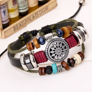 New Fashion Jewelry Rhinestone Crystal Handmade Metal Sunflower Beaded Leather Bracelets,Adjustable Braided Bracelets,Vintage Charm Leather Bracelets & Bangles ,Personality Wrap Leather Bracelet For Female Party Gifts,Genuine Leather  Bijouterie Wristband