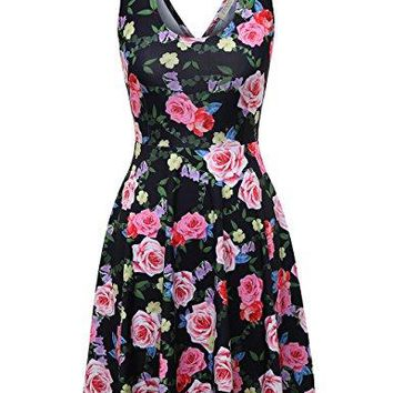 FSOOG Womens Open Back Casual Fit and Flare Floral Contrast Sleeveless Party Mini Dress