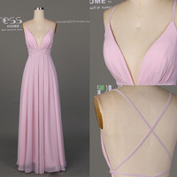 Simple Pink Prom Dress Long/Deep V Neck Prom Dress/Sexy Party Dress/Pink Chiffon Prom Dress/ Long Pink Prom Dress DH512