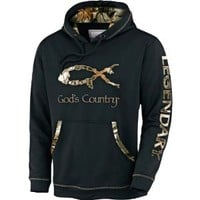 Legendary Whitetails Men's God's Country Camo Poly Hoodie Black Large