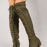 Studded Spike Military Lace Up Boot