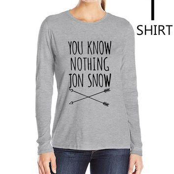 """Gray and Black """"You Know Nothing Jon Snow"""" Women's long sleeve T shirts"""