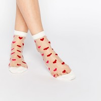 ASOS Valentines Sheer Heart Ankle Socks at asos.com