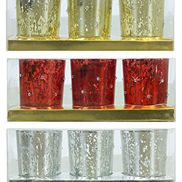 Christmas Decorations Glass Votive Candle Holder - Set of 3 Styles: Silver, Gold and Red