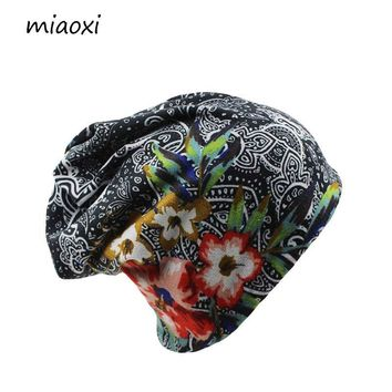 miaoxi New Women Hat Polyester Adult Casual Floral Women's Hats Spring Autumn Two Used Female Cap Scarf 3 Colors Fashion Beanies