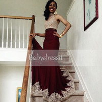Elegant Long High Neck Two Piece African Prom Dress with Lace Sleeveless Backless Mermaid New Arrival Burgundy Prom Dresses 2017