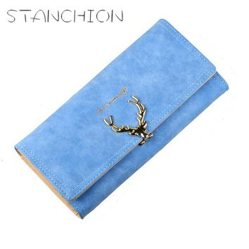 STANCHION Leather Women Wallet Big Capacity Long Wallet Candy Color Cute Deer Female Coin Purses Ladies
