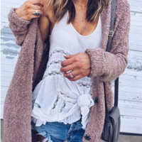 Women's Short Fuzzy Jacket - The picture color